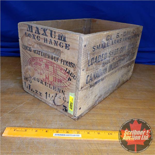 "Vintage CIL Shot Shells Wooden Box (12ga) (9""H x 9-1/4""W x 14""D)"