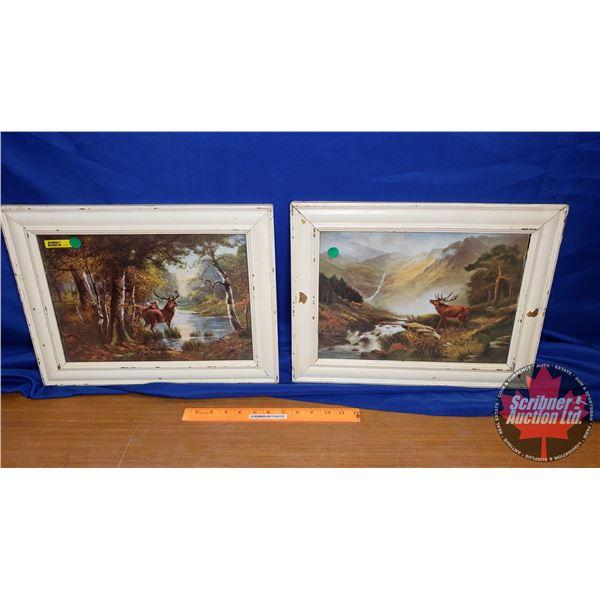 """2 Vintage Framed Prints of Elk (13""""H x 17""""W)"""