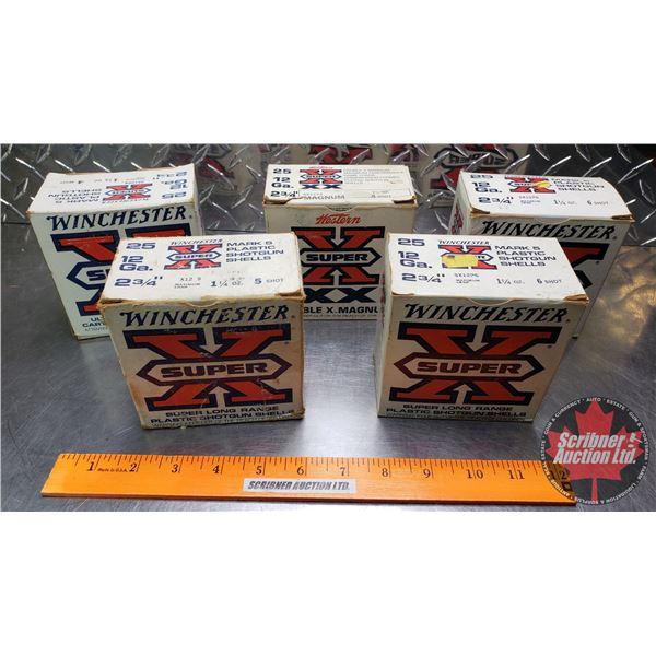 """AMMO: 12ga (2-3/4"""") : Winchester Super X Mark 5 : 1-1/4oz (1 Box of 4 Shot) & (1 Box of 5 Shot) & (2"""