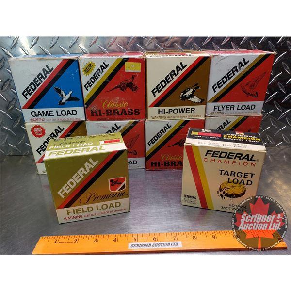 "AMMO: Tray Lot: Federal 12ga 2-3/4"" (Variety Shot & oz) (10 Boxes of 25 = 250 Total)"