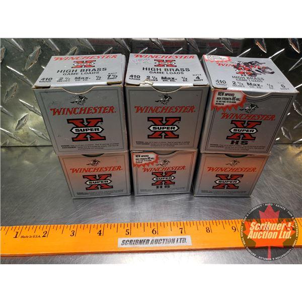 "AMMO: Box Lot: Winchester Super X High Brass Game Loads .410ga 2-1/2"" (1/2oz : 6 Shot) (6 Boxes of 2"