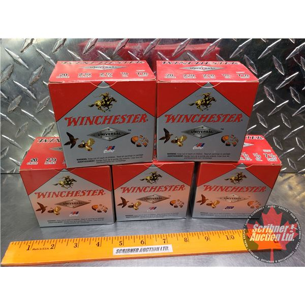 """AMMO: Tray Lot: Winchester Universal 20ga 2-3/4"""" (7/8oz : 7-1/2 Shot) (5 Boxes of 25 = 125 Total)"""