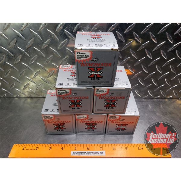 """AMMO: Tray Lot: Winchester Super X HS High Brass Game Loads .410ga 3"""" (11/16oz : 6 Shot) (6 Boxes of"""