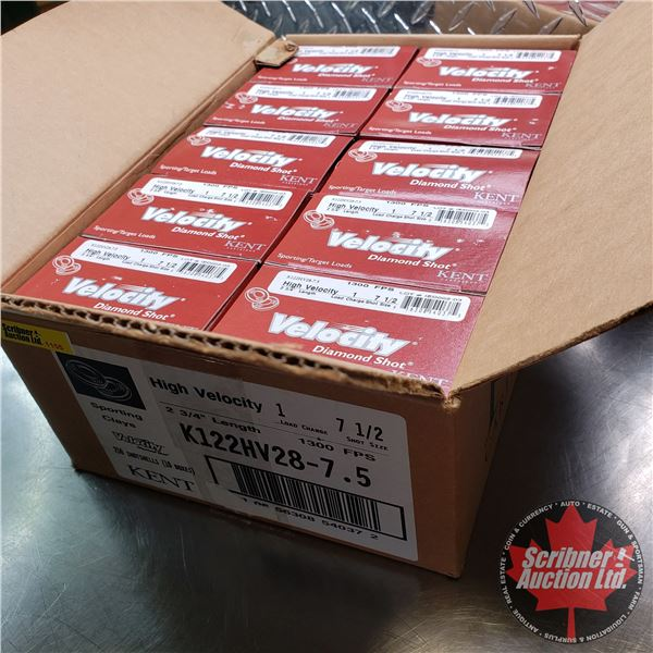 "AMMO: Case Lot: KENT Velocity Sporting / Target Loads 12ga (2-3/4"") (1oz : 7-1/2 Shot) (10 Boxes of"