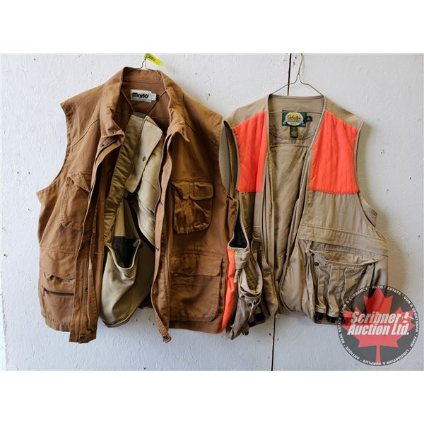 Hi-Vis Shooting Vest & Brown Canvas Vest w/Field & Game Belt (Size XL)