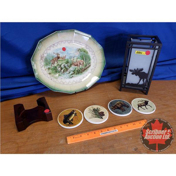Wildlife Coaster Set, Moose Silhouette Candle Light & Elk Motif Platter (Small Chip)