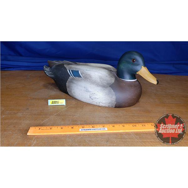 """Ducks Unlimited Carved Wooden Mallard (Artist: Bob Bolle) (7""""H x 7""""W x 18""""L)"""