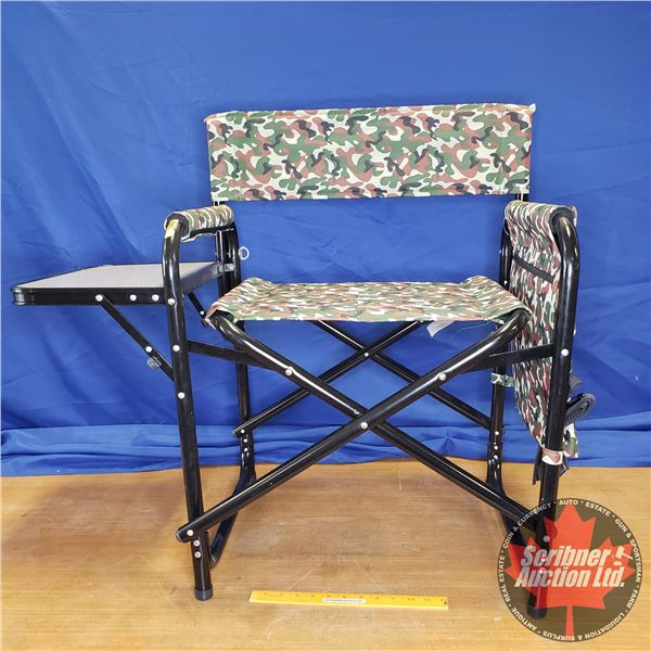 NEW: Super Director Chair Folding w/Side Table & Carry Strap (Lots of Storage Pockets!) (Set Up Meas
