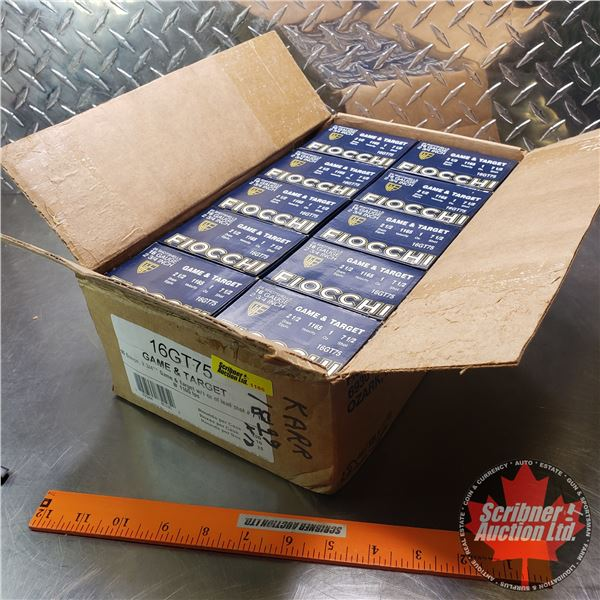 """AMMO: Case Lot: Fiocchi Game & Target 16ga 2-3/4"""" (1oz : 7-1/2 Shot) (10 Boxes of 25 = 250 Total)"""