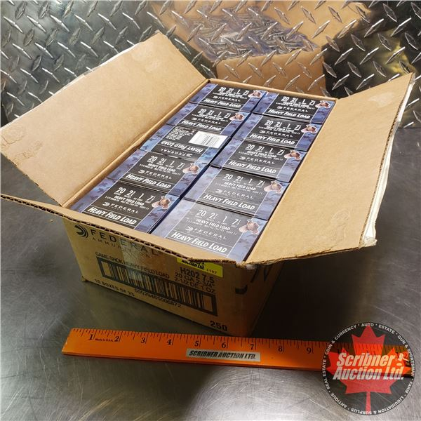 """AMMO: Case Lot: Federal Heavy Field Load 20ga (2-3/4"""") 1oz : 7-1/2 Shot (10 Boxes of 25 = 250 Rnds T"""