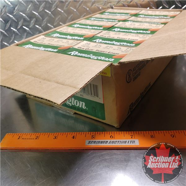 "AMMO: Case Lot: Remington Gun Club Target Loads 20ga (2-3/4"") 7/8oz : 7-1/2 Shot (10 Boxes of 25 = 2"