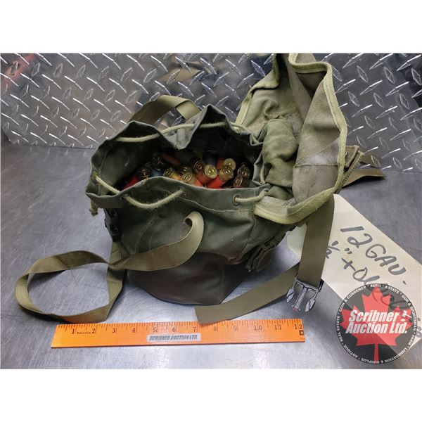 """AMMO: Large Variety of Brands 12ga (2-1/2"""" & 2-3/4"""") Canvas Bag (Total 94)"""