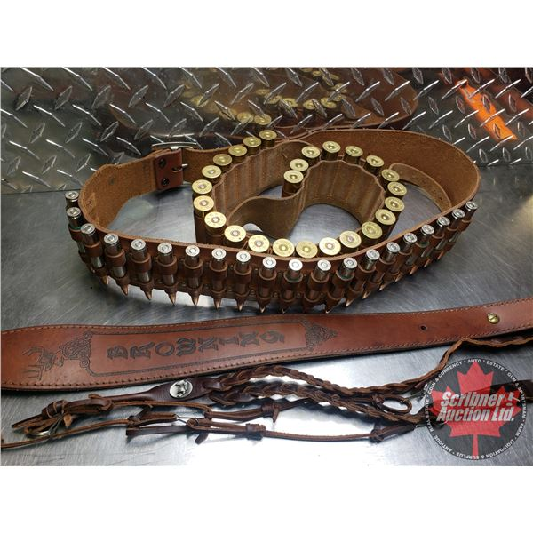 AMMO: Combo Tray Lot : 2 Gun Belts with Ammo (30-06 Sprg = 20 Rnds) & (16ga = 25 Rnds) + 2 Leather S