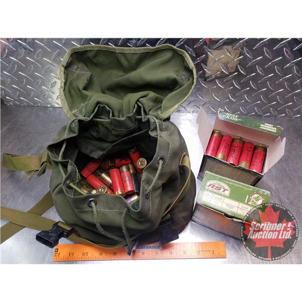 """AMMO: RST & Variety of Loose 12ga (2-1/2"""" in Box & 2-1/2"""" Loose & 2-3/4"""" Loose) Canvas Bag (Total of"""