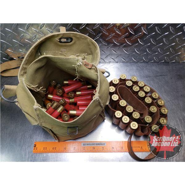 AMMO: Variety of Brands 28ga Canvas Bag (104 Rnds) c/w Ammo Belt