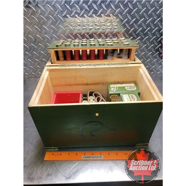 """AMMO: RST & Variety of Loose 12ga (2-1/2"""") Ducks Unlimited Wooden Ammo Box & Ammo Belt (93 Rnds Tota"""