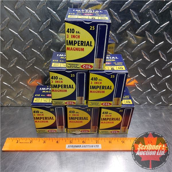 """AMMO: Vintage CIL Imperial Magnum 410ga 3"""" (6 Shot) (6 Boxes of 25 = 150 Total)"""
