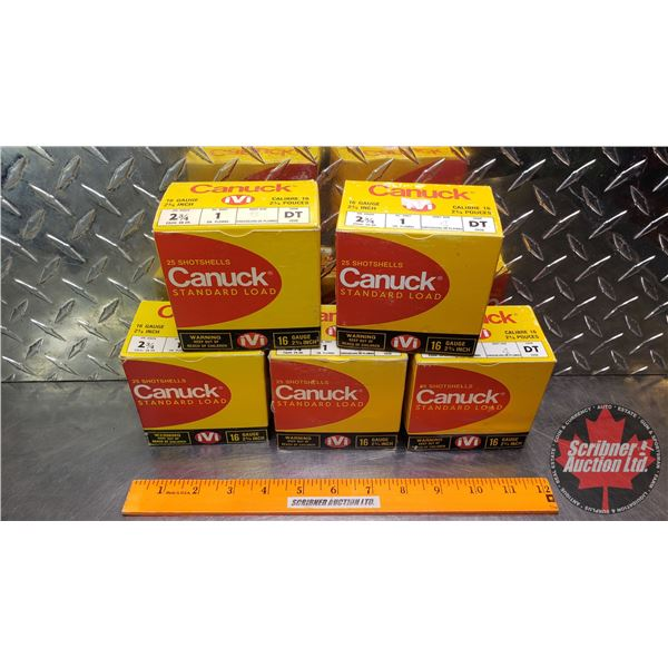 "AMMO: Vintage Canuck IVI (16ga 2-3/4"") 1oz (4 Shot = 3 Boxes) (6 Shot = 2 Boxes) (5 Boxes of 25 = 12"