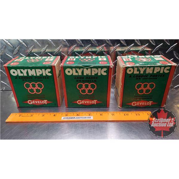 "AMMO: Vintage : Gevelot Olympic 12ga 2-3/4"" (1-1/4oz : 6 Shot) (3 Boxes of 25 = 75 Rnds Total)"