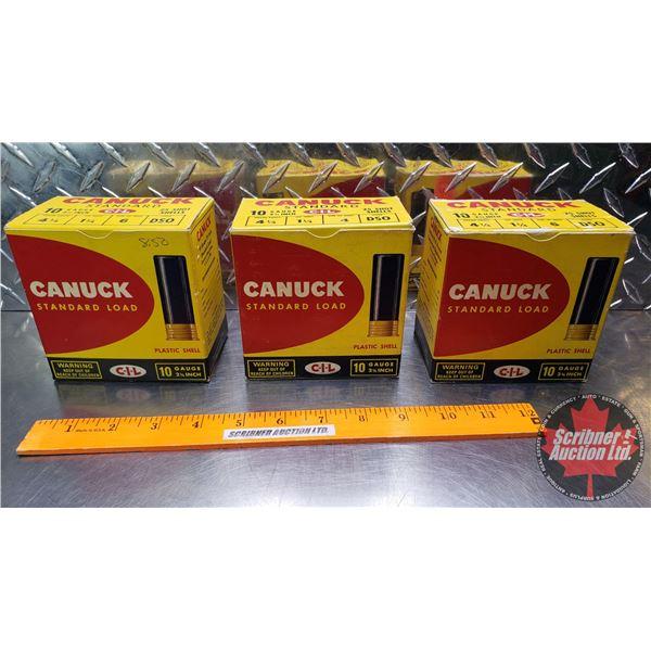 """AMMO: Vintage CIL Canuck Standard 10ga 2-3/4"""" (1-1/4oz : 6 Shot & 4 Shot) (3 Boxes of 25 = 75 Total"""