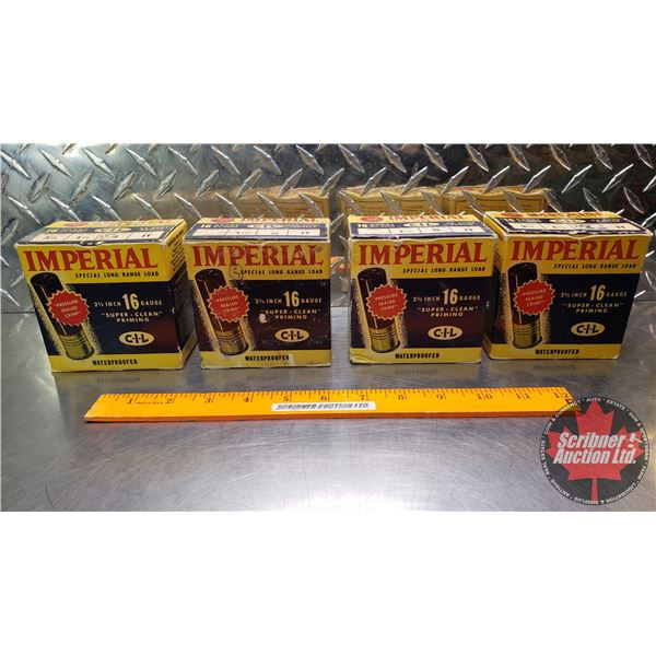 """AMMO: Vintage Imperial 16ga 2-3/4"""" (4 Boxes of 25 = 100 Rnds Total)"""