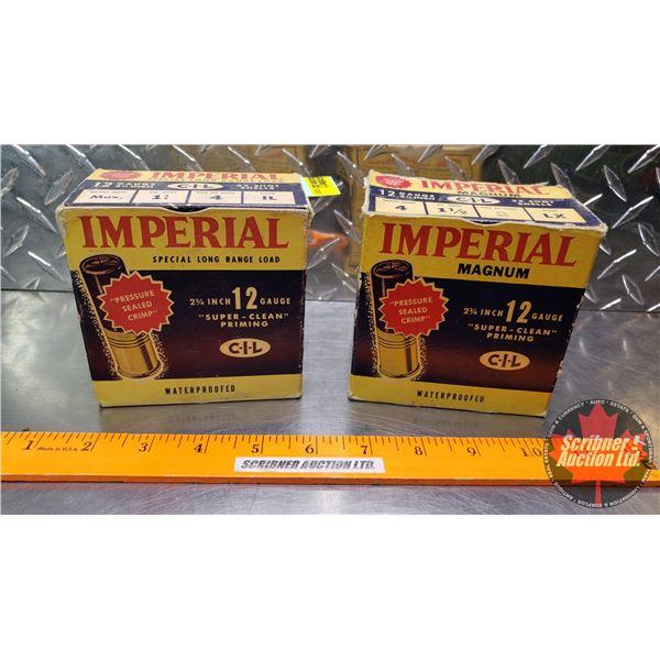 "AMMO: Vintage CIL Imperial 12ga 2-3/4"" (Special Long Range 1-1/4oz : 4 Shot) & (Magnum 1-1/2oz : 2 S"