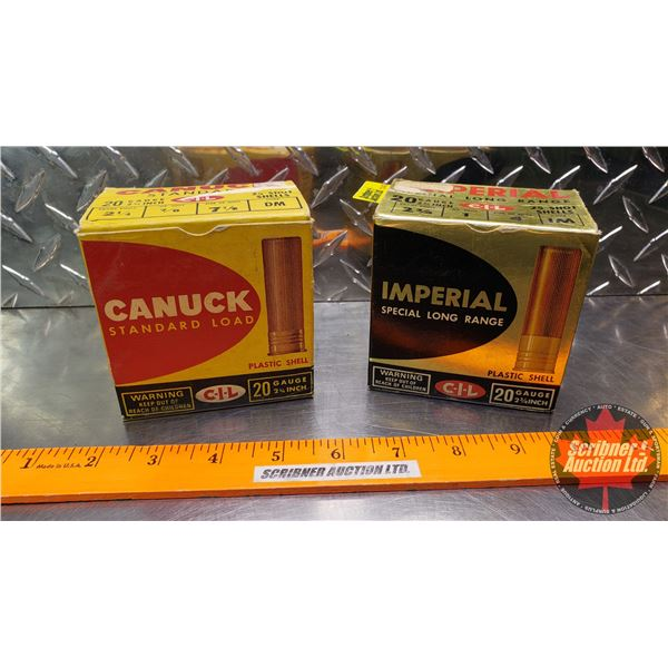 """AMMO: Vintage CIL Canuck & Imperial 20ga 2-3/4"""" (2 Boxes of 25 = 50 Total)"""