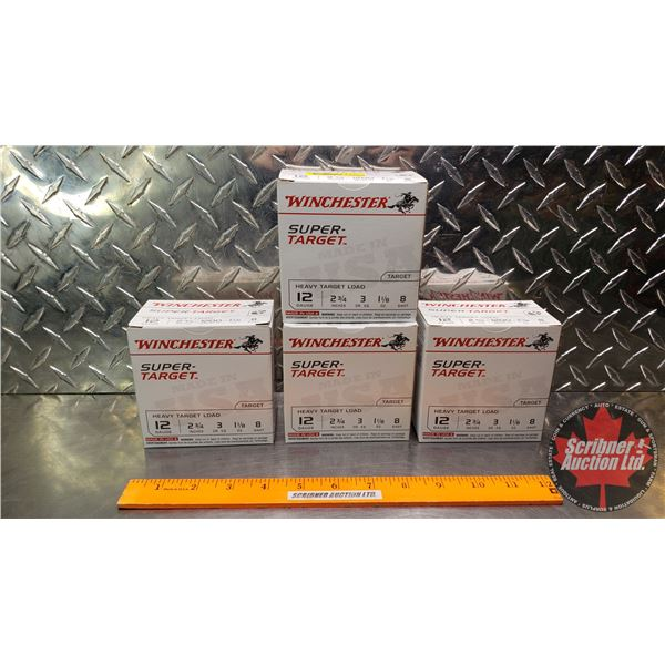 """AMMO: Winchester Super-Target 12ga 2-3/4"""" (1-1/8oz : 8 Shot) (4 Boxes of 25 = 100 Total)"""