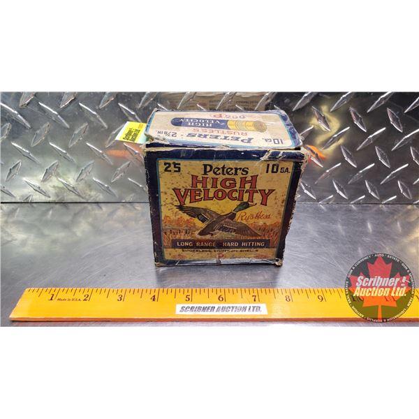 "AMMO: Vintage Peters Rustless High Velocity 10ga 2-7/8"" (#4 Shot) (12 Rnds Total in Orig Box) (Box h"