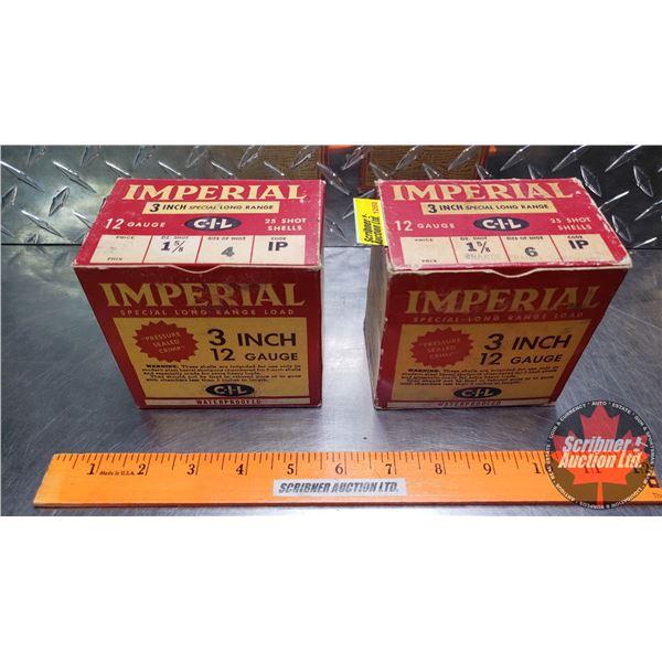 "AMMO: Vintage CIL Imperial Special Long Range 12ga 3"" (1-5/8oz : 4 Shot & 6 Shot) (2 Boxes of 25 = 5"