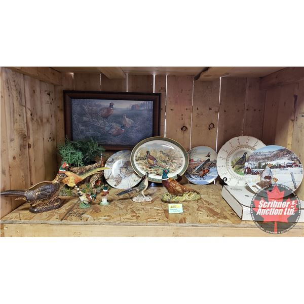 Pheasant Theme Collection: Collector Plates, Plant Holder, Beswick England, Ornaments, etc (12pcs)