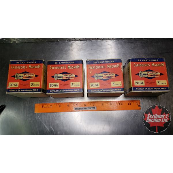"AMMO: Vintage Gevelot Magnum 20ga 3"" (3 Full Boxes & 1 Partial = 97 Total) (Note: 2 pcs Boxes)"
