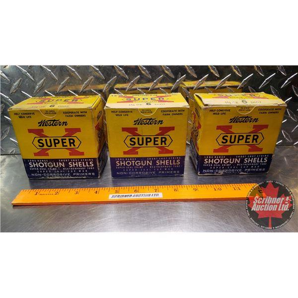 """AMMO: Vintage : Western Super X : 12ga 2-3/4"""" (1-1/4oz : 6 Shot) (3 Boxes of 25 = 75 Total)"""