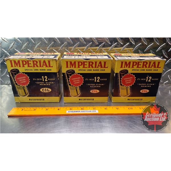 """AMMO: Vintage CIL Imperial Special Long Range Load 12ga 2-3/4"""" (1-1/4oz : 6 Shot) (3 Boxes of 25 = 7"""