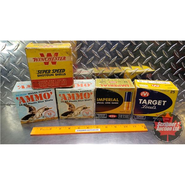 """AMMO: Vintage 12ga 2-3/4"""" - Variety of Brands (Incl. IVI, Imperial, Wescan & Winchester) (122 Total)"""