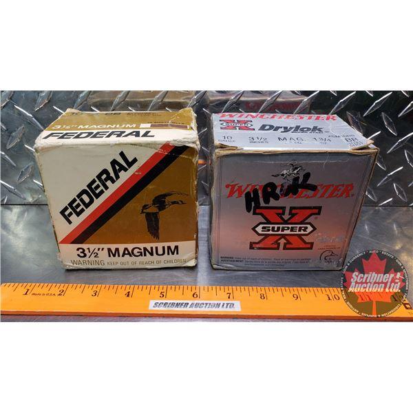 "AMMO: 10ga 3-1/2"" Magnum (Winchester Super X Drylok 1-3/4oz : BB Shot) (Federal 2oz : BB Shot) (2 Bo"