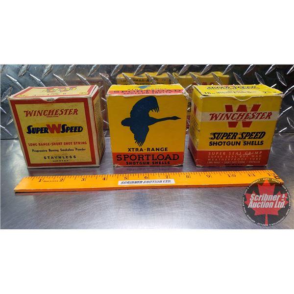 "AMMO: Vintage 16ga (Winchester Super Speed 2-9/16"" : 1-1/8oz 6 Shot = 25 Rnds) & (Sportload Xtra-Ran"