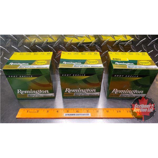 """AMMO: Remington Premier 12ga 3-1/2"""" (1-3/8oz : BB Shot) (3 Boxes of 25 = 75 Total)"""