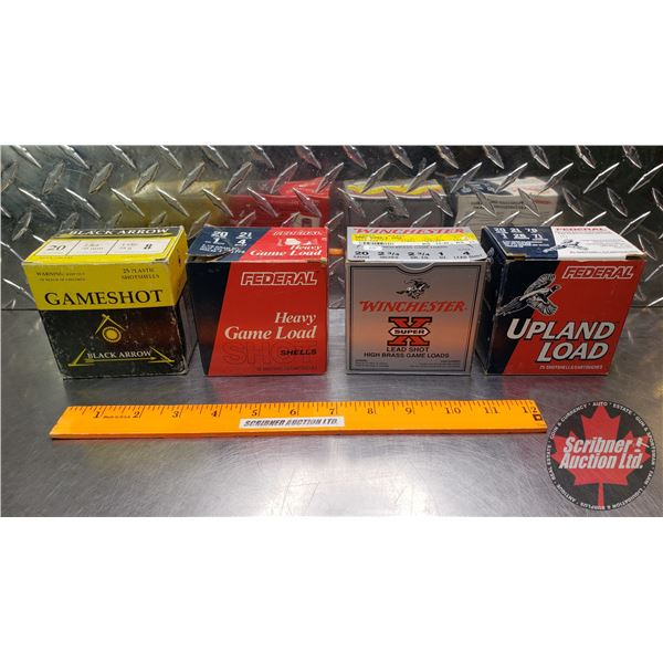 """AMMO: Tray Lot 20ga 2-3/4"""" (Variety Brands : Incl. Black Arrow, Federal & Winchester) (4 Boxes of 25"""