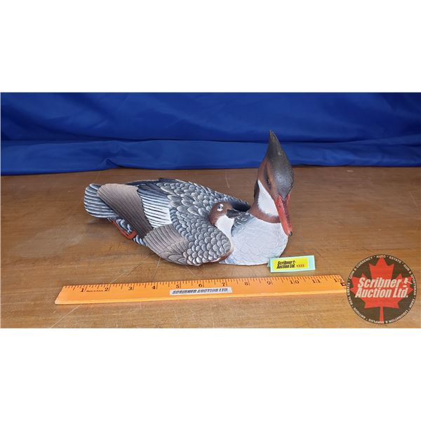 """Duck's Unlimited Carved Ornament """"Merganser and Hatchling"""" Limited Edition (277/700) from 1998 by J."""