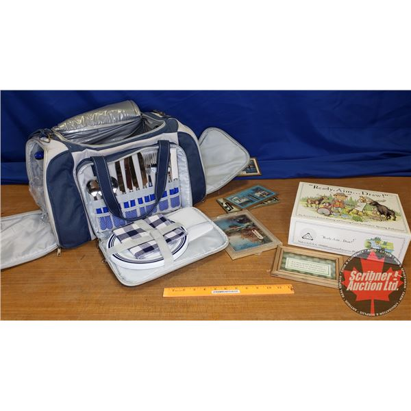 Picnic Set Bag w/Trivia Game, Vintage Thermometers