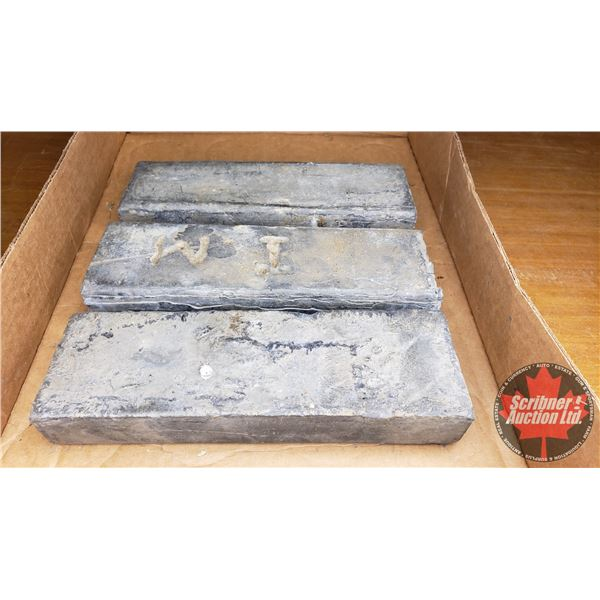 Tray Lot: Lead Bars (3) (Total Weight: 32lbs)