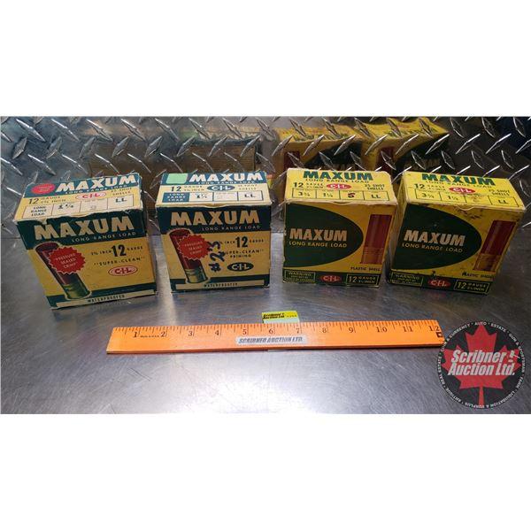 "AMMO: Vintage CIL Maximum Long Range Load 12ga 2-3/4"" (1-1/4oz : 2 Shot & 5 Shot) (4 Boxes of 25 = 1"