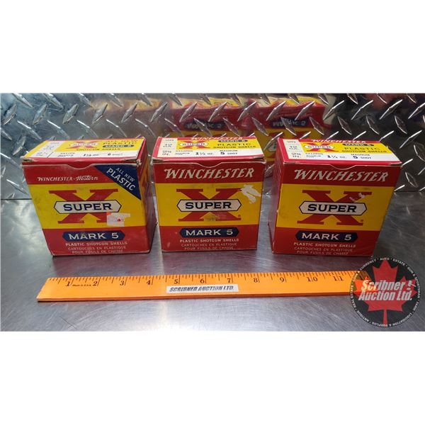 "AMMO: Vintage Winchester Super X Mark 5 : 12ga 2-3/4"" (1-1/2oz : 5 Shot = 2 Boxes) & (1-1/4oz : 6 Sh"