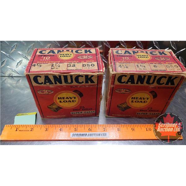 "AMMO: Vintage CIL Canuck Heavy Load 10ga 2-3/4"" (1-1/4oz : 6 Shot & BB Shot) (2 Boxes of 25 = 50 Tot"
