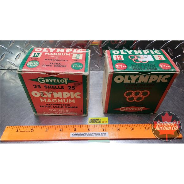 "AMMO: Vintage - Gevelot Olympic 12ga (2-3/4"" Long Range Heavy Load 1-1/4oz : 2 Shot) (2-3/4"" & 3"" Ma"