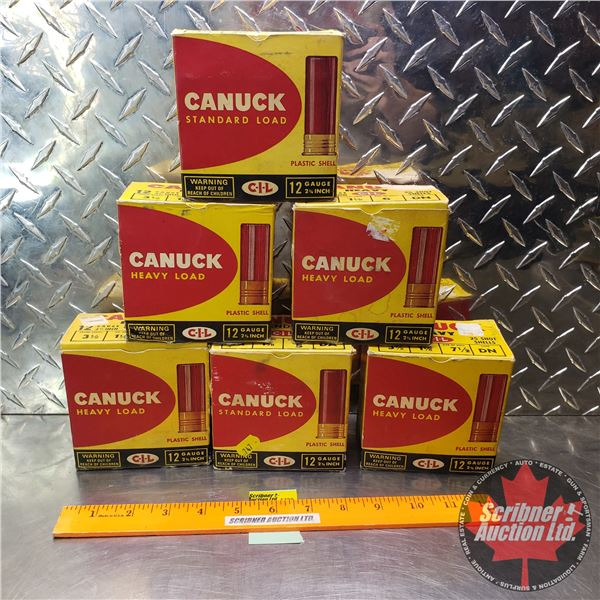 "AMMO: Vintage CIL Canuck 12ga 2-3/4"" (1-1/8oz) (7-1/2, 6, 5, 4 Shot) (6 Boxes of 25 = 150 Total)"