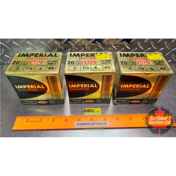 "AMMO: Vintage CIL Imperial Magnum 20ga 2-3/4"" (1-1/8oz : 4 Shot) (3 Boxes of 25 = 75 Total)"