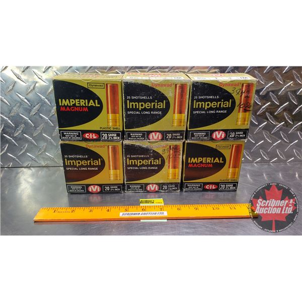 """AMMO: Tray Lot 20ga 2-3/4"""" (Imperial - Variety of Shots/oz) (6 Boxes = 149 Total)"""