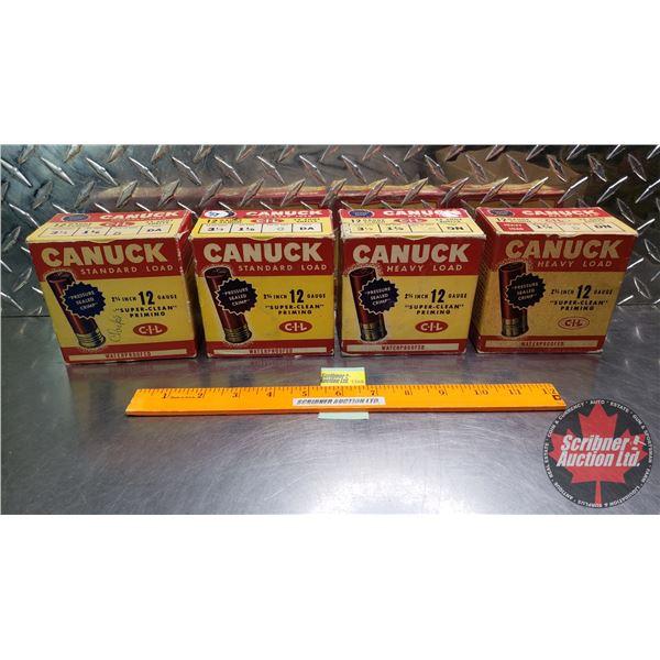 "AMMO: Vintage CIL Canuck 12ga 2-3/4"" (1-1/8oz : Heavy Load 6 Shot & 5 Shot & Standard 5 Shot) (4 Box"